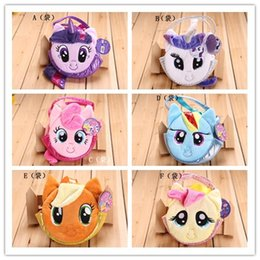 Wholesale 6 colors Children My Little Pony Plush Handbags Baby Colorful Cute Horse Bags Shopping Bags Kids Cartoon Bags Wallets