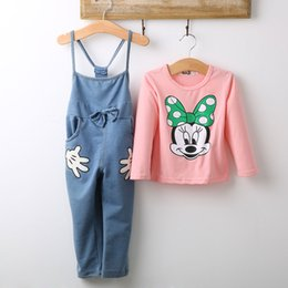 Wholesale Girls Baby Minnie Mouse Outfits Tops T shirt Bib Denim Pants Overalls Set Costume Clothes Y