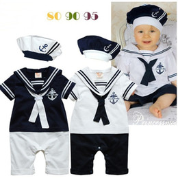 Wholesale 2015 latest design babies rompers short sleeve infant child baby one piece romper with hats Newborn baby handsome outfits kids clothing set