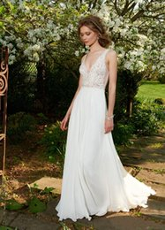 Wholesale 2015 Cheap Grecian Style Wedding Dresses A Line V Neck Sheer Back Lace Applique Pleats Floor Length Chiffon Formal Bridal Gowns