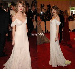 Wholesale Sexy Swift Red Carpet Dresses Ivory Spaghetti Bling Sequin Lace A Line Spaghetti Met Gala Evening Gowns Prom Party Queen Dresses