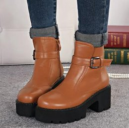 Wholesale stylenanda fashion buckle platform chunky heel shoes brown women boots black leather boots Size to