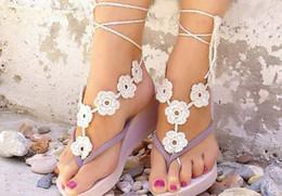 Casamento de praia Black White Crochet casamento Barefoot Sandálias sapatos nude jóias Pé baratos sapatos laço nupcial Sexy Tornozeleira # 71328