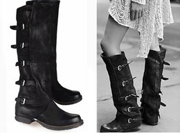 Discount Leather Knee High Combat Boots | 2017 Leather Knee High ...