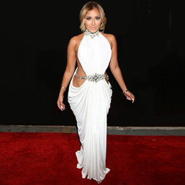 Kim Kardashian High Neck White Dress Canada - Stunning Celebrity Red Carpet  Runway Dresses 2015 Crystal 7ca61ab2d