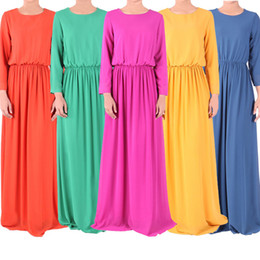 Wholesale Abaya Kaftan Muslim maxi dress Abaya Islamic long sleeve Print Dress Muslim Women Large Size clothing S757M