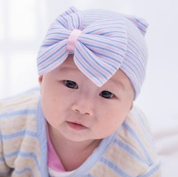 Wholesale Baby Hat Pink baby beanie with big bow infant girls and boys Newborn unisex Hospital Hat baby accessories free size months