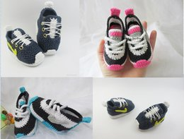 online shopping Drop shipping Knitted Crochet kids Sneakers Crochet toddler sports Shoes soft baby shoes Booties unisex floor walking shoes pairs