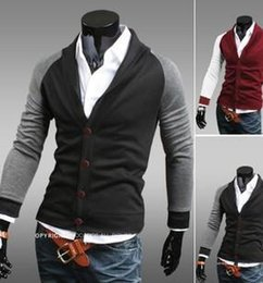 New 2015 Slim Fit V-neck Patchwork Button Casual 2015 New Slim Fit V-neck Patchwork Button mens sweaters Cardigan Men