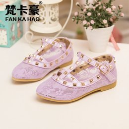 Wholesale Children s lovely Lace princess shoes for girls cute bow princess shoes colors B001