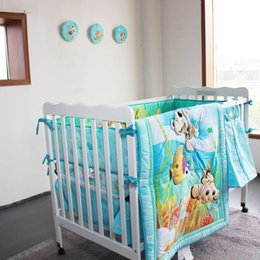 Wholesale Cartoon Undersea World Pattern Baby Bedding Set Cotton Items Baby Quilt Bumper Bed Skirt Mattress Cover Diaper Bag