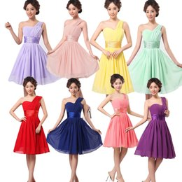 Wholesale 2015 new women cheap Short mini sexy one shoulder Chiffon Prom lilac purple Party Bridesmaid wedding dresses plus size under