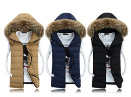 Wholesale winter new fashion casual cotton slim hood fur collar lovers colete masculino sleeveless jacket down vest men
