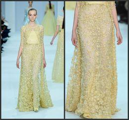 Long Sleeve Yellow Prom Dress