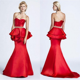 Wholesale 2015 Red Dresses Sweetheart Sleeveless Evening Dress Low Back Sweep Train With Peplum Party Dresses