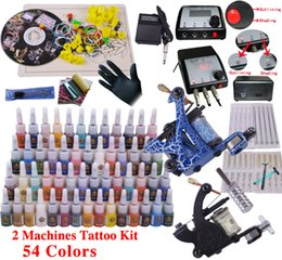 Wholesale Professional Complete Top Tattoo Kit Machine Gun color ink Tip Power Supply Set Tips Grips