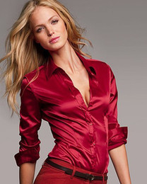 Wholesale S XXXL women satin silk blouse button ladies silk satin blouses shirt casual White Black Gold Red long sleeve satin blouse top
