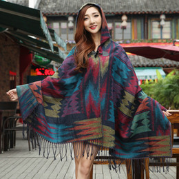 Wholesale Lady thick Hooded Cape Bohemian shawls scarves for women wraps cotton infinity Kimono cape Spring Winter warmer scarf PJ8001