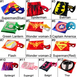 Wholesale L70 W70CM Double Side Batman Superman Cape Mask Reversible Superhero Cape Supergirl Cape Mask Set Party Iems Hot Sale