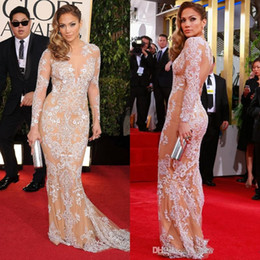 Wholesale 2015 Zuhair Murad long Sleeve Evening Dresses Gowns Mermaid Lace Deep V Prom Dresses Celebrity Party Dress With Crew Neckline