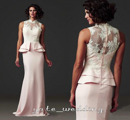 Wholesale 2015 Vintage Evening Dresses With High Collar Sweetheart Sleeveless Lace Satin Peplum Long Prom Dress White Pink Mother Of The Bride Dress