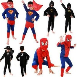 Wholesale Kids Cosplay costume Batman costume for kid Superman costume Spiderman Superhero cosplay Costume Zorro costume S M L DDD2292