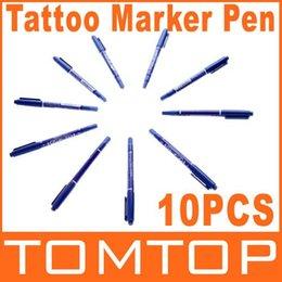 Wholesale 10pcs set Dual Tattoo Body Piercing Skin Scribe Stencil Markers Pen Dropshipping