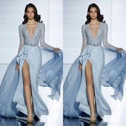 online shopping See Through Sexy Zuhair Murad Mermaid Evening Dresses With Long Sleeves Formal Cheap Prom Party Dress Crystals Blue Celebrity Gowns