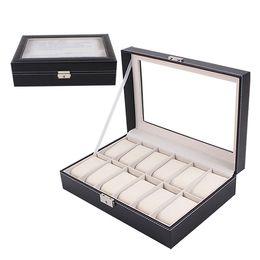 mens watch storage box online mens watch storage box for whole shipping organizer show case jewelry display black pu leather 12 mens watch box display jewelry case organizer storage