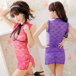 Wholesale Perspective Dress Cosplay Cheongsam Sexy Lingerie Women Hot Set Sleepwear Home Wear Sex G String Costume Nightdress No