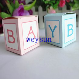 Wholesale DHL Freeshipping Newest Pink Bule quot BABY quot Party Candy Box Wedding Decoration Favor Candy Gift Box Baby Shower Boxes