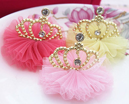 Wholesale 12pcs Chiffon flower with Crown DIY trim crafts For Kids baby girl hair headband Hair Accessories Etc