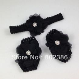 Wholesale Pink Black White Color Mix Baby barefoot sandals Headband Set Sandals amp Clogs Cheap Sandals amp Clogs