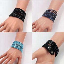 Wholesale 2014 New Fashion Colors Layer Warp Leather Bracelet Pure Color Gem Multilayer Leather Bracelet Bangles
