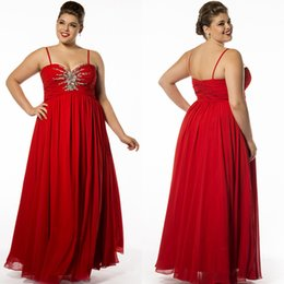 Wholesale Spaghetti Straps Plus Size Chiffon Evening Dresses Backless Party Dresses Beads Sequins Zipper Back Closure Draped Custom Made