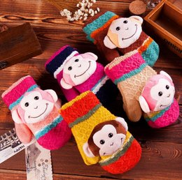 Wholesale Children New Halter Mittens double thick warm gloves package Aberdeen cartoon monkey child gloves multicolor optional JIA509