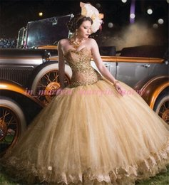 Wholesale Glod Beaded Crystal Princess Quinceanera Dresses Ball Gown Quinceanera Plus Size Sequins Tulle Skirts Sweet Birthday Party Gowns