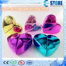 Wholesale ml Metal Multicolor Heart Shaped Atomizer Glass Perfume Bottle Spray Refillable Bottles wu