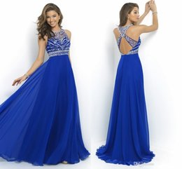 Wholesale In Stock Sheer Royal Blue Chiffon A Line Prom Dresses Cross Back Sparkly Beading Long Evening Runway Celebrity Party Gowns New