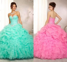 Wholesale 2015 Custom Made Coral Quinceanera Dresses Ball Gown Organza Beading Sleeveless Floor Length Lace Up Sexy Prom Dress Sweet Dresses HW016