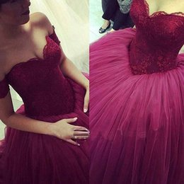 Wholesale Burgundy Lace Tulle Ball Gown Princess Prom Dresses Off The Shoulder Simple Puffy Teens Prom Gowns New Hot