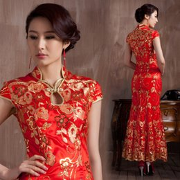 Wholesale Summer Long Red Bridal Vintage Classical Satin Dresses Cheongsam Women Chinese Wedding Dresses Traditional Clothing Blend Qipao Dresses