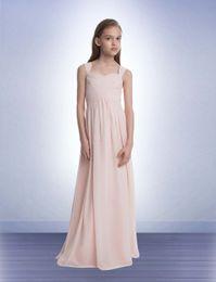 Wholesale Junior Bridesmaid Dresses Chiffon Dress Long Length Spaghetti Straps Ruffles Pleats Zipper Back A Line Sweetheart Cheap Bridesmaid Gown