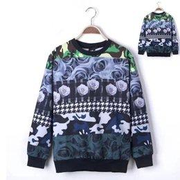 Wholesale 2014 Camouflage rose flower block decoration digital print male o neck long sleeve pullover sweatshirt outerwear camo men
