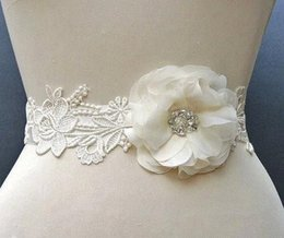 online shopping Handmade Flower Appliques wedding belt wedding dressses sashes With White Ribbon wedding accessory BB53