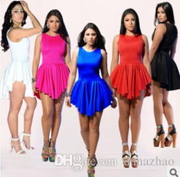 Wholesale 2015 New Spring Summer Sexy Women Bandage Mini Sun Dress Plus Size Asymmetrical Prom Clothing Party Night Club Dresses