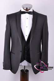 Wholesale Morning Fashion New arrival Black modern slim fitted Groom wear wedding suit for men include jacket pants tie