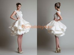 Wholesale In Stock Ivory White Short Wedding Dresses Sheer Neck Ball Gown Sleeveless Zipper Back Knee Length See Through Tulle Lace Bridal Gowns