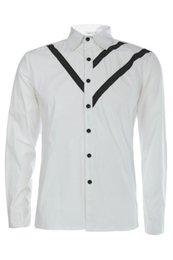 Wholesale New Arrival Mens Fashion Plus Size Stripe Long Sleeve Shirts White Hot Sale