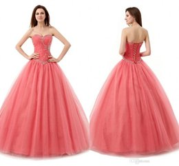 Wholesale 2016 Sweetheart Quinceanera Dresses Crystals Beads Sequins Lace up Plus Size Debutante Sweet Pageant Dresses